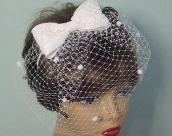 Birdcage Veil w  Lace Bow Headband  for Wedding  Bridal Accessory  for Bride or  Bridesmaids Made to Order