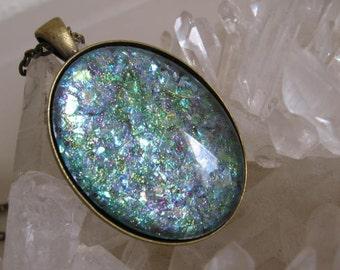 Oval Glitter Pendant - FREE Heart Pendant Included