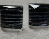 Blue Black Stripe Square Acrylic Pierced Earrings