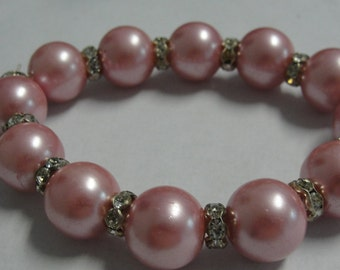 Pink Simulated Pearl and Rhinestone Beaded Bracelet
