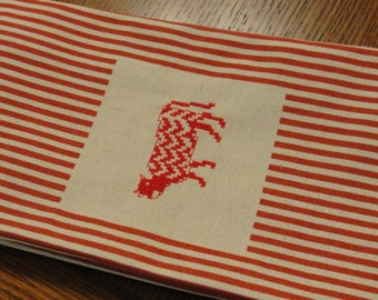 Red and Cream Stripe Kitchen Towel Chevron Cow Cross Stitch Design