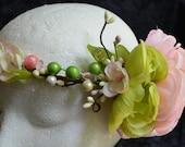 Flower Crown Wedding, Wedding Hair Wreath, Bridal Headband, Boho Wedding Crown, Green Flower Crown, Pink Flower Crown, Flower Tiara