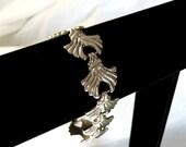 Vintage Link Bracelet, Art Deco Style, Silver Tone, Links, Mid Century Retro, 1940s, 1950s
