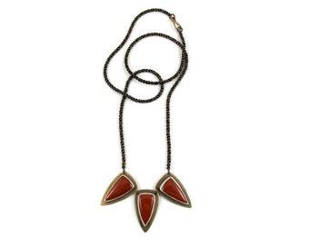 Triple Shield Necklace // Red Jasper