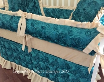 NEW Custom Rosette Satin & Faux Silk Luxury Posh Baby Nursery with Ruffles Complete 5-Piece Crib Bedding Set YOUR CHOICE of Colors
