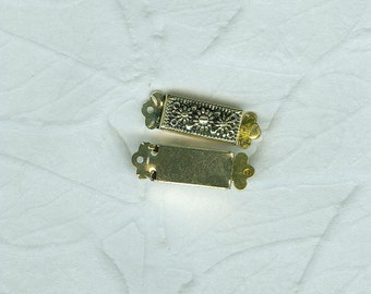 Vintage German  Silver Color Box  Clasp 6mm by 20 mm Single Strand