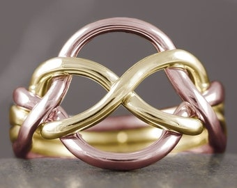 Gold puzzle ring wedding band - 10kt 14kt 18kt available in white rose and yellow