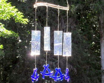 Fused Glass Windchime Iridescent Clear and Blue Glass