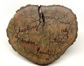 Healing a Broken Heart, One Smile At a Time - Natural Rustic Wood Heart Shape Ornament  by Tanja Sova
