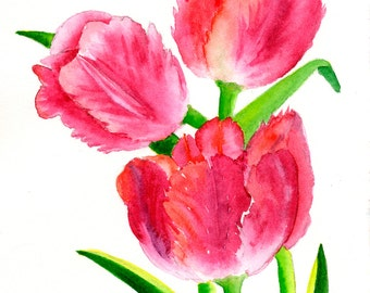 Red Tulips Three Art Fine Art Print Original WatercolorFloral Print RedPink Green FRAMEABLE ART Giclee Wedding Mother's Day Gift Collectable