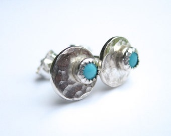 Silver and Turquoise Stud Earrings, Hammered Disk Gemstone Earrings