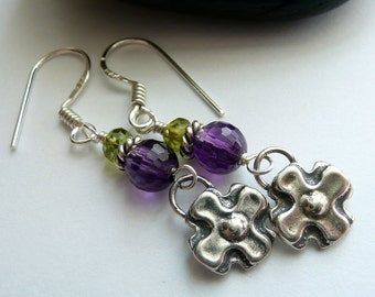 Sterling Silver Flower Charm Purple Amethyst Green Peridot Gemstone Boho Hippie Festival Gift for Her OOAK Dangle Earrings