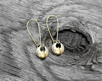 Egyptian Earrings, Kemetic Earrings, African Earrings, Khepri Earrings, Scarab Earrings, Brass Earrings, Khepri Brass Kemetic Earrings