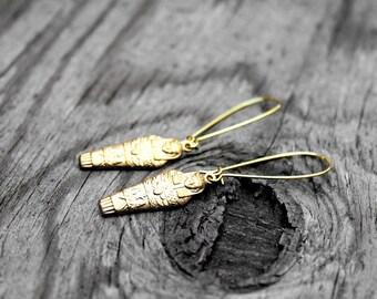 Egyptian Earrings, Kemetic Earrings, African Earrings, Egyptian Sarcophagus Earrings, Ancient Kemetic Sarcophagus Brass Earrings