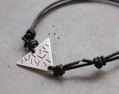 Silver Bracelet for Men - Sterling Silver Adjustable Triangle Bracelet with Stamped Stripes and Leather - Black Rain