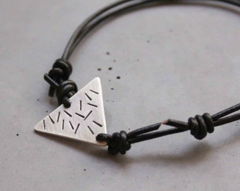 Silver Bracelet for Men - Sterling Silver Adjustable Triangle Bracelet with Stamped Stripes and Leather - Black Rain