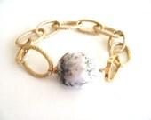 Marble Gold Chain bracelet opal gemstone black and white Gift for her Vitrine Under 75 Statement bracelet