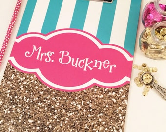 personalized clipboard, monogrammed clipboard, striped clipboard, pick your own colors clipboard, gold glitter clipboard