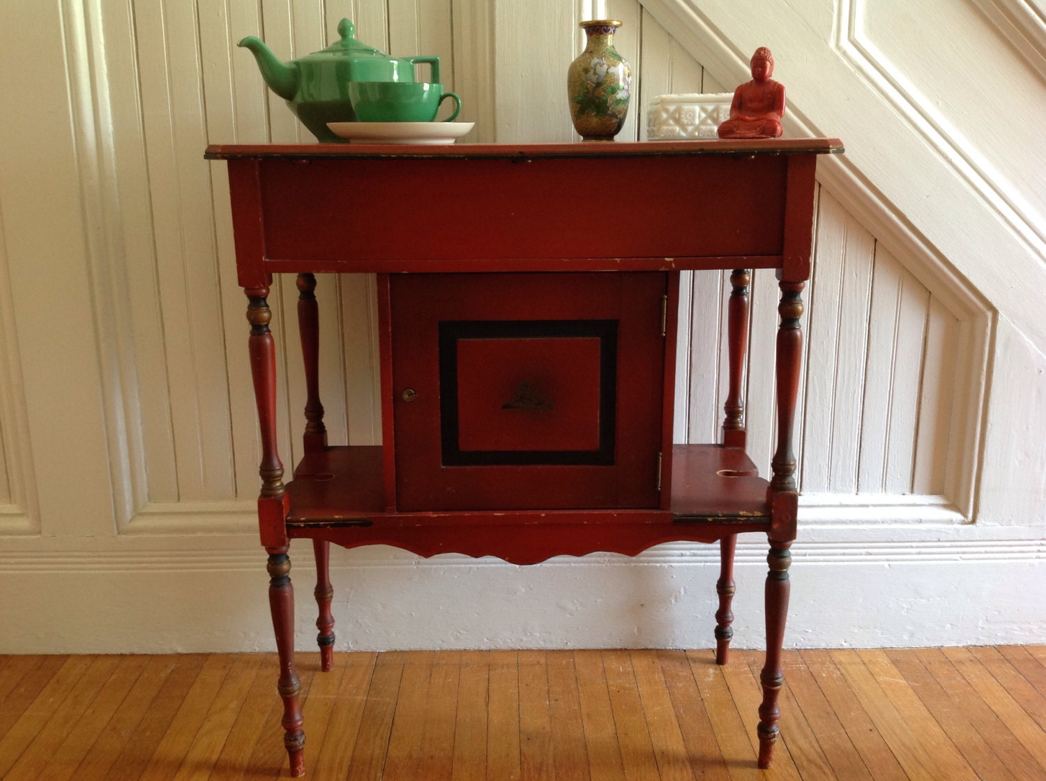 ANTIQUE HUMIDOR Cigar Storage Cabinet Table c1900 Original Chinese Red  Paint Finish Gold Black Asian Design Vintage Rustic Shabby Chippy - ANTIQUE HUMIDOR Cigar Storage Cabinet Table C1900 Original Chinese