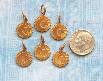 Moon Star Jewelry Pendant Charm Lot Antique Vintage Brass Celestial Jewelry Hardware Findings
