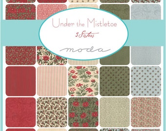 """SQ120 Moda UNDER THE MISTLETOE Precut 5"""" Charm Pack Fabric Quilting Cotton Squares 3 Sisters 44070PP"""
