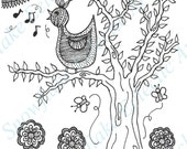 DIY COLORING Page - Instant PDF Digital Download - Printable Coloring Page - Birdsong - Adults - Children