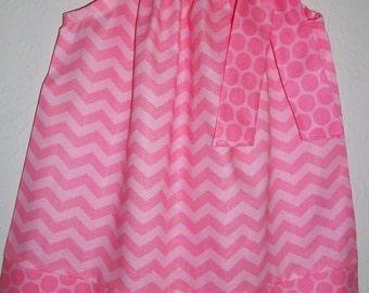 SUMMER SALE Pillowcase Dress Summer Dresses for Girls Chevron Dress Chevron and Dots Pink dress Birthday Dress Sister Dresses for Summer
