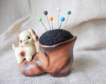 Vintage Sweet little Doggie Sitting on Old Shoe Planter remade into a Pin Cushion