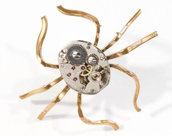 Gothic Steampunk Clockwork Spider Pin Brooch Tie Tack with Vintage Brass Spider Legs and Silver Watch Movement by Velvet Mechanism