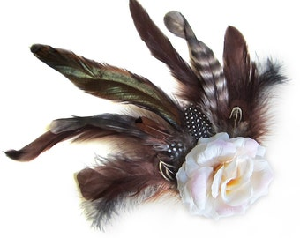 Steampunk Romantic Antique White Cream Rose Hair Clip with Striped Iridescent and Shades of Brown Feathers by Velvet Mechanism