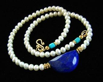 Turquoise Lapis Lazuli Freshwater Pearl necklace Gold Vermeil Royal Blue White Feminine Dainty Simple jewelry Handmade PinkOwlJewelry