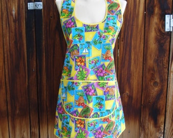 Vintage Style Apron in Snapshots of Paridise Print - One Size Fits Most - Ready to Ship