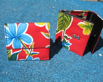 Oil Cloth Red Trifold French Purse Wallet, Womens Floral Wallet