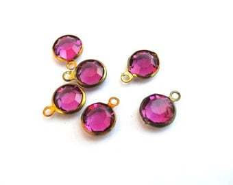 6 Vintage dangling beads Swarovski fuschia pink crystal brass channel beads 1 loops made in Austria