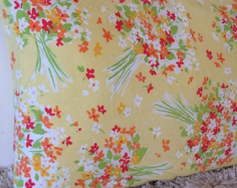 vintage orange yellow floral bouquet standard pillowcase