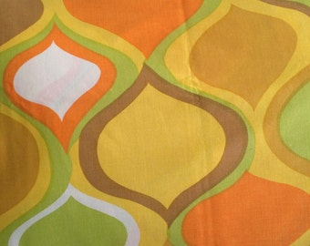 Vintage valance curtain abstract mod brown yellow orange groovey 70s