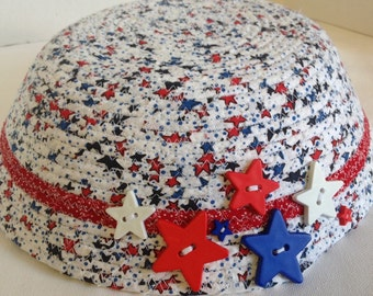Fabric Pottery Coiled Fabric Bowl, Red,White And Blue With Stars, Patriotic
