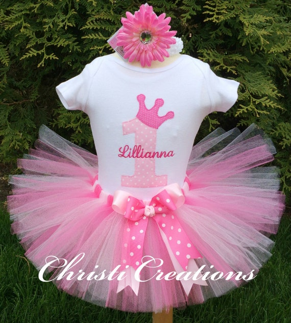 Princess 1st Birthday Outfit Baby Girl Pink Tutu Outfit