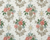 1960s Vintage Wallpaper by the Yard - Retro Floral Wallpaper Coral and Blue Flowers with Metallic Gold