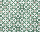 1940's Vintage Wallpaper - Red and Green Geometric on Taupe