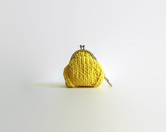 Lemon Yellow Coin Purse, Change Purse, Money Holder, Gifts for Her, Gifts Under 15, Hand Knitted, Small Purse, Coin Pouch