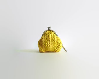 Lemon Yellow Cotton Coin Pouch, Coin Purse Keychain, Change, Money Holder, Stocking Stuffer, Gifts for Her Under 20, Hand Knitted Coin Purse