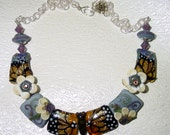Butterflies and Flowers Lampwork Necklace SRAJD
