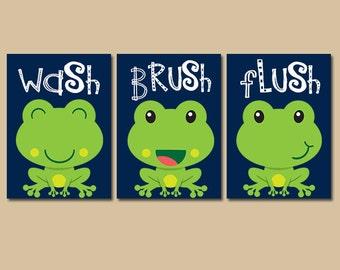 FROG Bathroom Frog Wall Art   Canvas Or Prints Kid Bathroom Wash Brush  Flush Boy Bathroom
