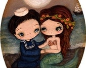 Mermaid Print Sailor Art Nautical Girl Ocean Love Couple Wall Art
