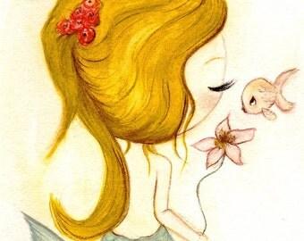 Mermaid Print Sweet Fish Kiss Nautical Flower Girl Wall Art---Fin Love