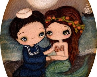 Mermaid Print Sailor Art Nautical Girl Ocean Love Couple Wall Art