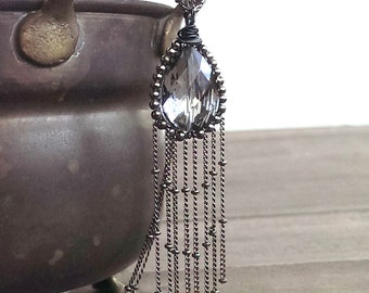 Black crystal necklace - wire wrapped pendant necklace