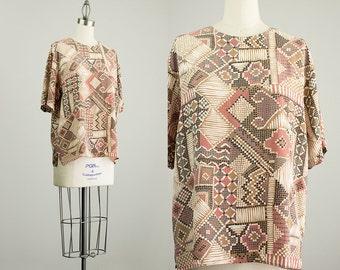 90s Vintage Silk Mosaic Print Slouchy Tunic Blouse / Size Medium