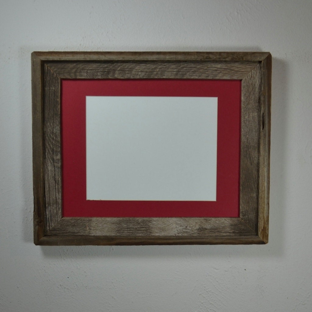 11x14 Wood Wall Frame With Red Mat For 8x108 By Barnwood4u